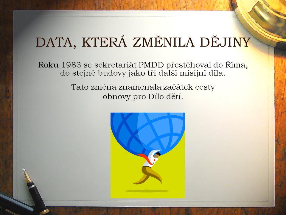 DATA, KTERÁ ZMĚNILA DĚJINY Roku 1983 se sekretariát PMDD přestěhoval do Říma, do stejné budovy jako tři další misijní díla.