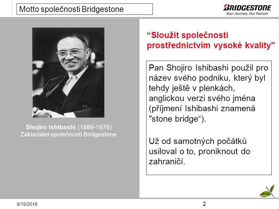 9/19/2016 2 Pan Shojiro Ishibashi použil pro název svého podniku, který byl tehdy ještě v plenkách, anglickou verzi svého jména (příjmení Ishibashi znamená stone bridge ).