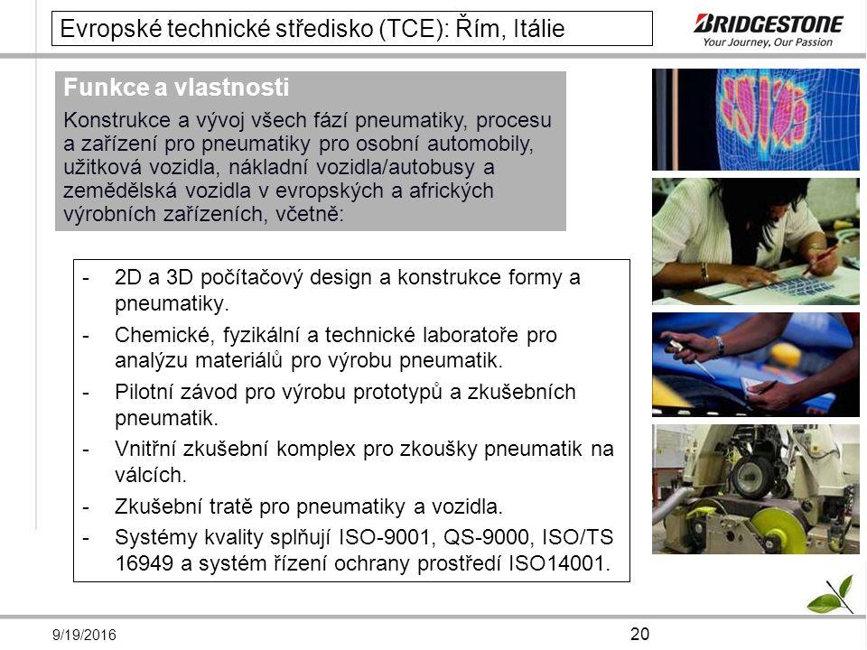 9/19/2016 20 Evropské technické středisko (TCE): Řím, Itálie -2D a 3D počítačový design a konstrukce formy a pneumatiky.