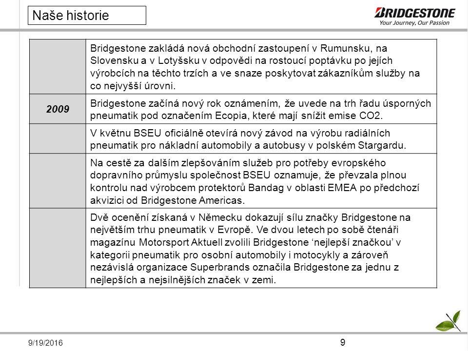 9/19/2016 10 Naše historie 2010 Společnost Bridgestone si získala důvěru společnosti Volvo Group v oblasti obchodu s pneumatikami pro nákladní vozidla; byla podepsána významná smlouva o dodávce s Volvo Group, po které následovalo ocenění Volvo Premium Supplier Award 2009 , která se uděluje za vynikající výsledky v oblasti jakosti, bezpečnosti, ochrany životního prostředí, nákladů, logistiky a odpovědného přístupu společnosti.