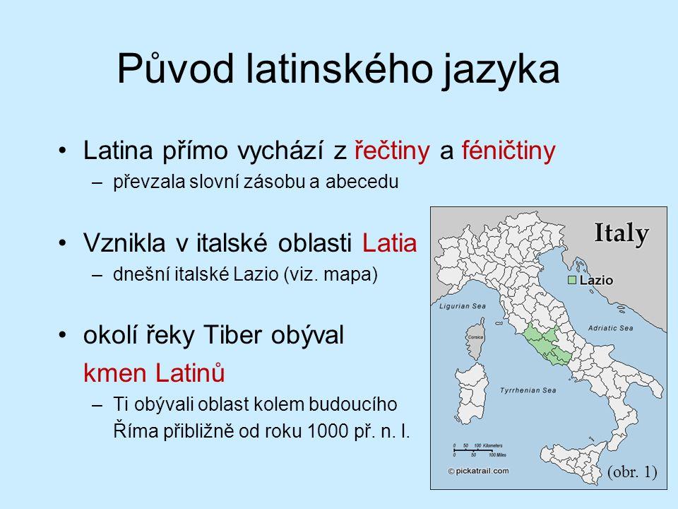 Původ latinského jazyka Latina přímo vychází z řečtiny a féničtiny –převzala slovní zásobu a abecedu Vznikla v italské oblasti Latia –dnešní italské Lazio (viz.
