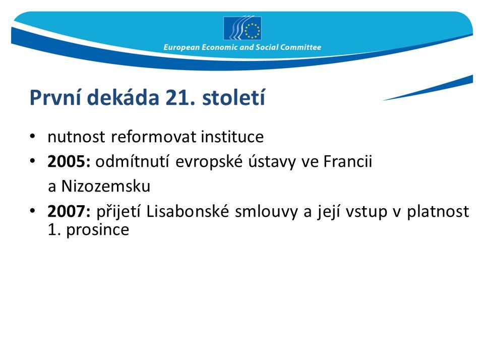 První dekáda 21. století nutnost reformovat instituce 2005: odmítnutí evropské ústavy ve Francii a Nizozemsku 2007: přijetí Lisabonské smlouvy a její