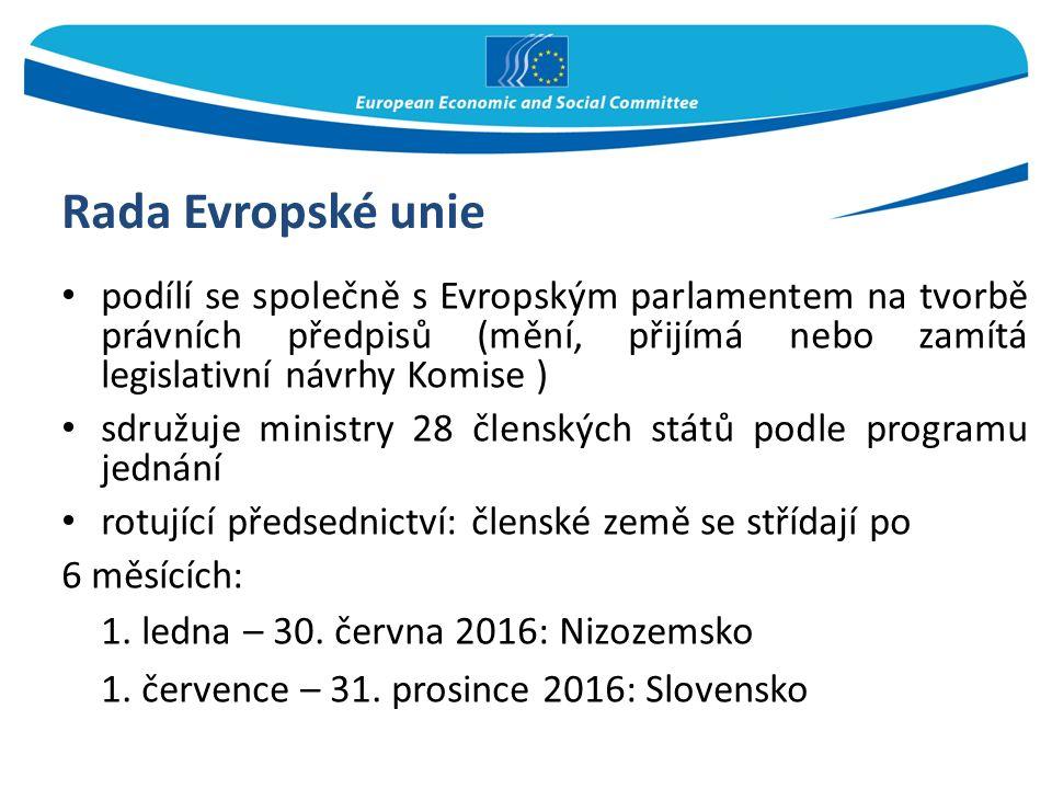 Rada Evropské unie podílí se společně s Evropským parlamentem na tvorbě právních předpisů (mění, přijímá nebo zamítá legislativní návrhy Komise ) sdružuje ministry 28 členských států podle programu jednání rotující předsednictví: členské země se střídají po 6 měsících: 1.