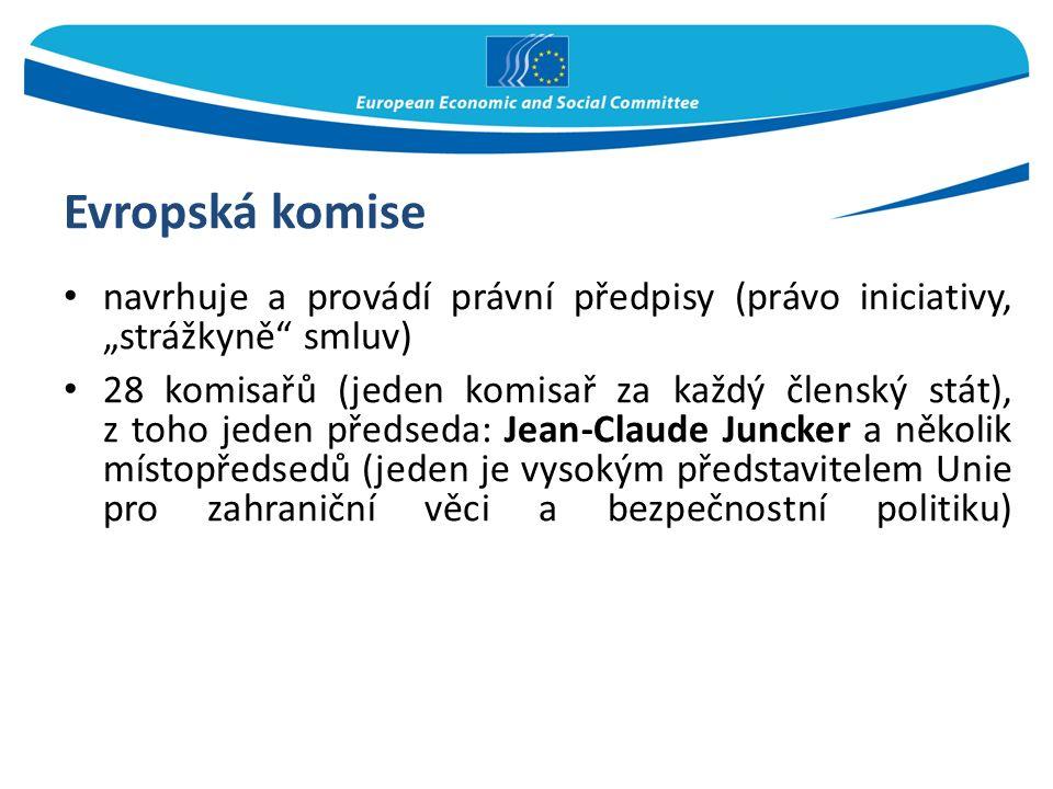 """Evropská komise navrhuje a provádí právní předpisy (právo iniciativy, """"strážkyně"""" smluv) 28 komisařů (jeden komisař za každý členský stát), z toho jed"""