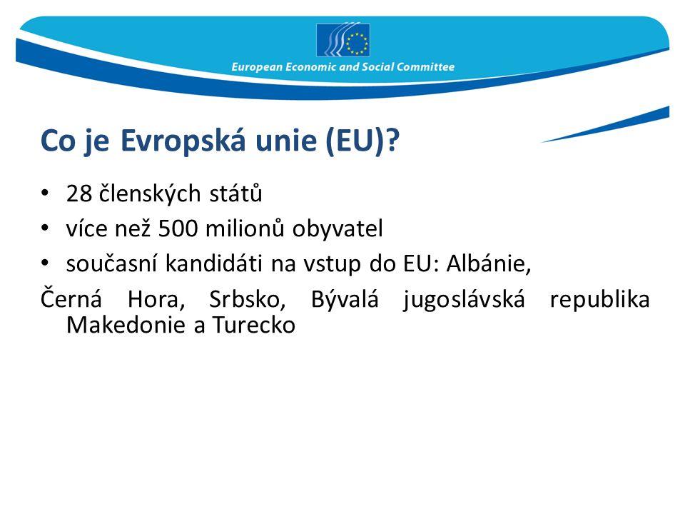 Co je Evropská unie (EU)? 28 členských států více než 500 milionů obyvatel současní kandidáti na vstup do EU: Albánie, Černá Hora, Srbsko, Bývalá jugo