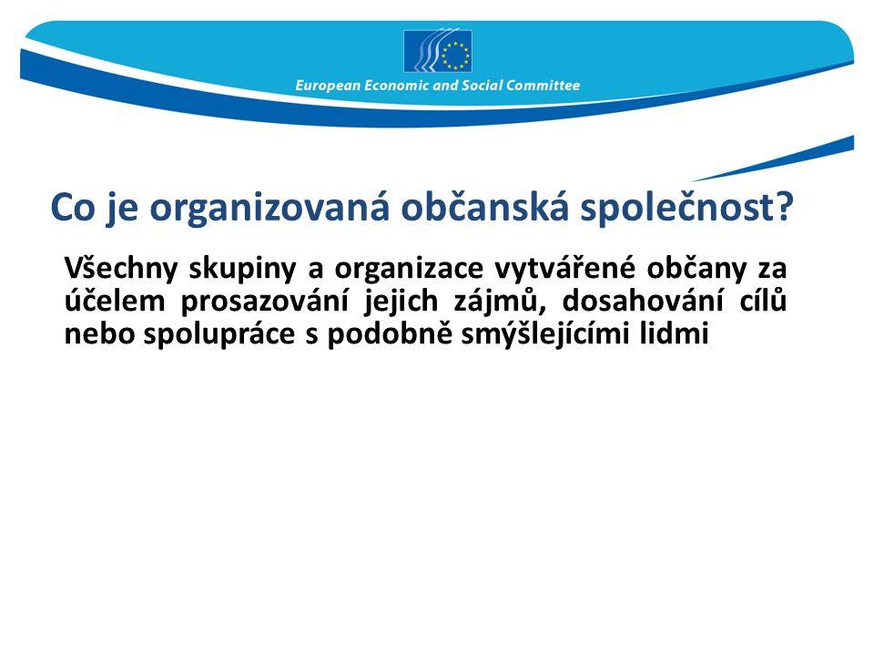 Co je organizovaná občanská společnost? Všechny skupiny a organizace vytvářené občany za účelem prosazování jejich zájmů, dosahování cílů nebo spolupr