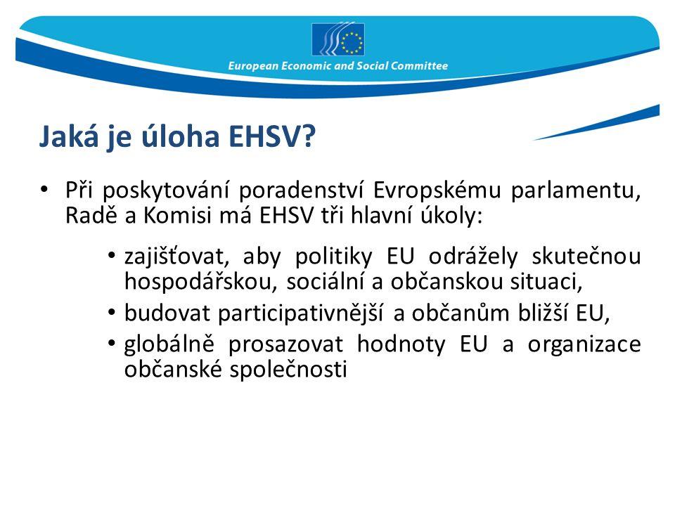 Jaká je úloha EHSV? Při poskytování poradenství Evropskému parlamentu, Radě a Komisi má EHSV tři hlavní úkoly: zajišťovat, aby politiky EU odrážely sk