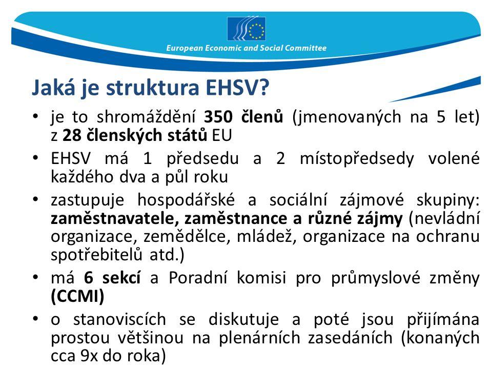 Jaká je struktura EHSV? je to shromáždění 350 členů (jmenovaných na 5 let) z 28 členských států EU EHSV má 1 předsedu a 2 místopředsedy volené každého