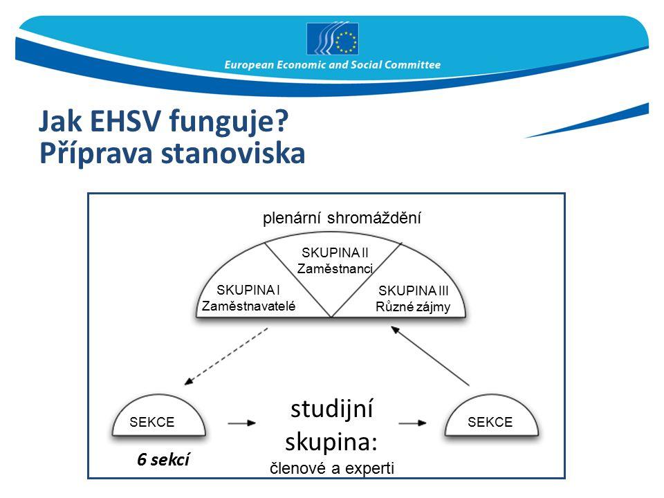 Jak EHSV funguje? Příprava stanoviska 6 sekcí plenární shromáždění SKUPINA II Zaměstnanci SKUPINA III Různé zájmy SEKCE studijní skupina: členové a ex