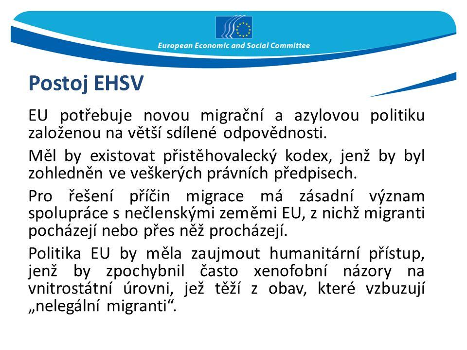 Postoj EHSV EU potřebuje novou migrační a azylovou politiku založenou na větší sdílené odpovědnosti. Měl by existovat přistěhovalecký kodex, jenž by b