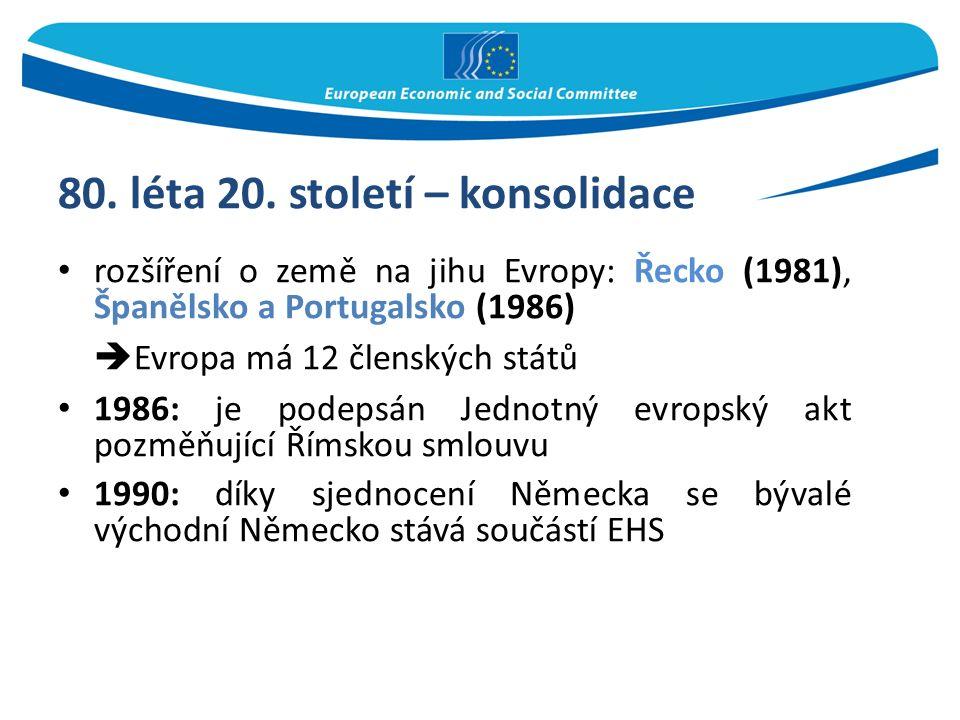80. léta 20. století – konsolidace rozšíření o země na jihu Evropy: Řecko (1981), Španělsko a Portugalsko (1986)  Evropa má 12 členských států 1986: