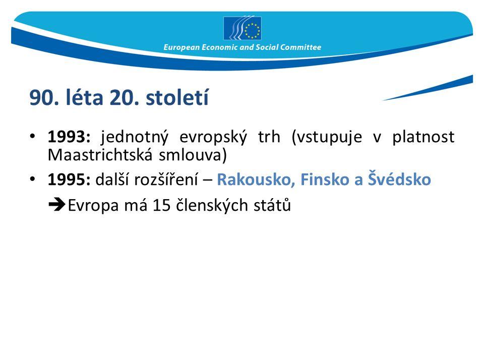 90. léta 20. století 1993: jednotný evropský trh (vstupuje v platnost Maastrichtská smlouva) 1995: další rozšíření – Rakousko, Finsko a Švédsko  Evro