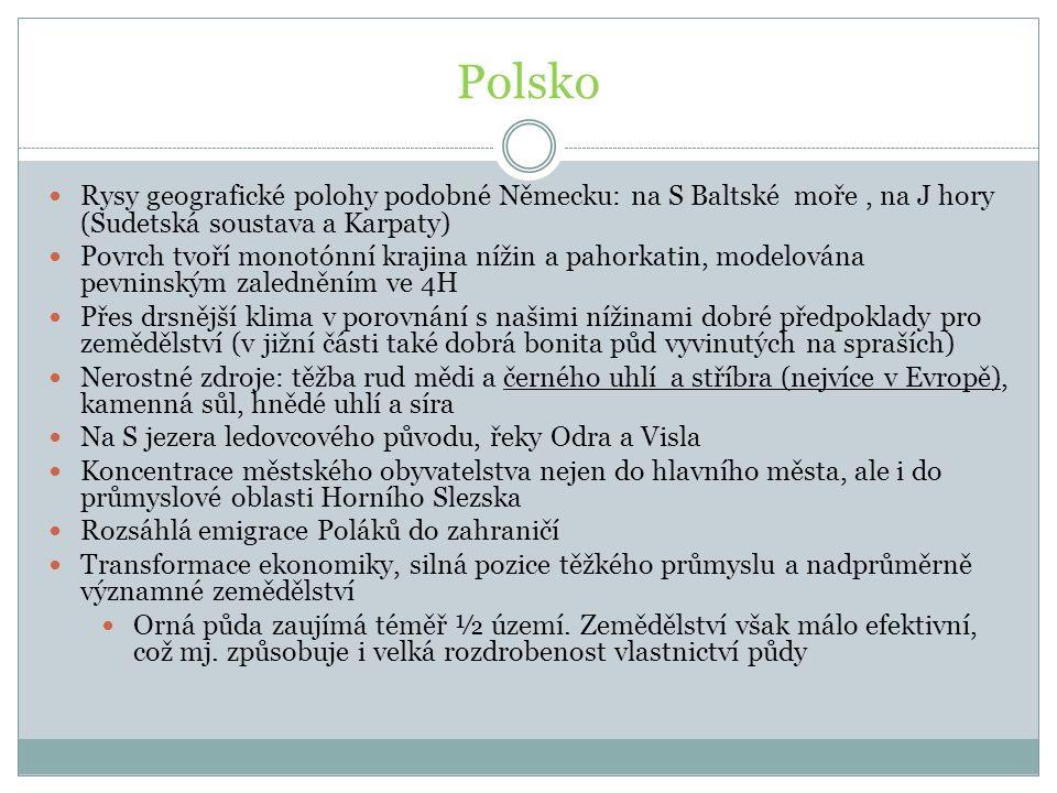 Polsko Rysy geografické polohy podobné Německu: na S Baltské moře, na J hory (Sudetská soustava a Karpaty) Povrch tvoří monotónní krajina nížin a paho