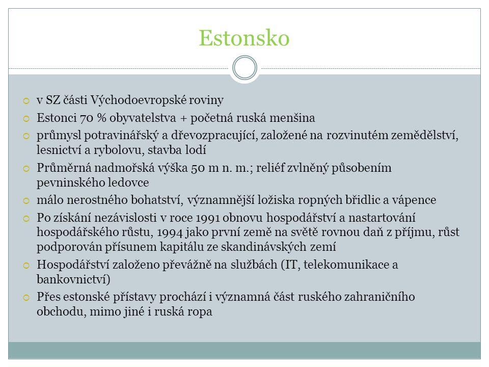 Estonsko  v SZ části Východoevropské roviny  Estonci 70 % obyvatelstva + početná ruská menšina  průmysl potravinářský a dřevozpracující, založené n
