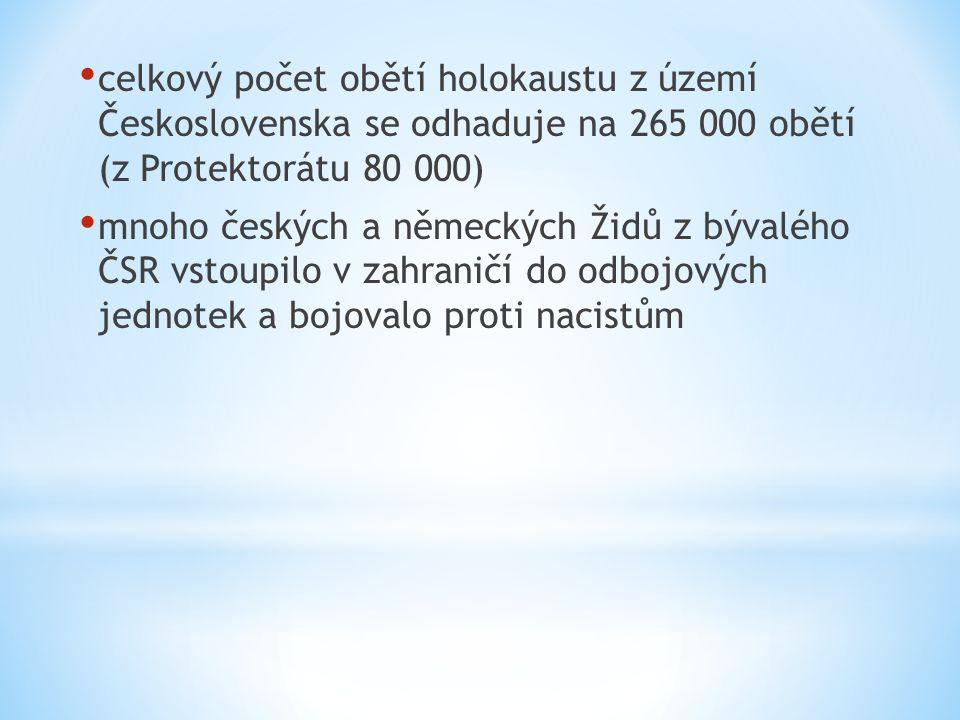 celkový počet obětí holokaustu z území Československa se odhaduje na 265 000 obětí (z Protektorátu 80 000) mnoho českých a německých Židů z bývalého ČSR vstoupilo v zahraničí do odbojových jednotek a bojovalo proti nacistům