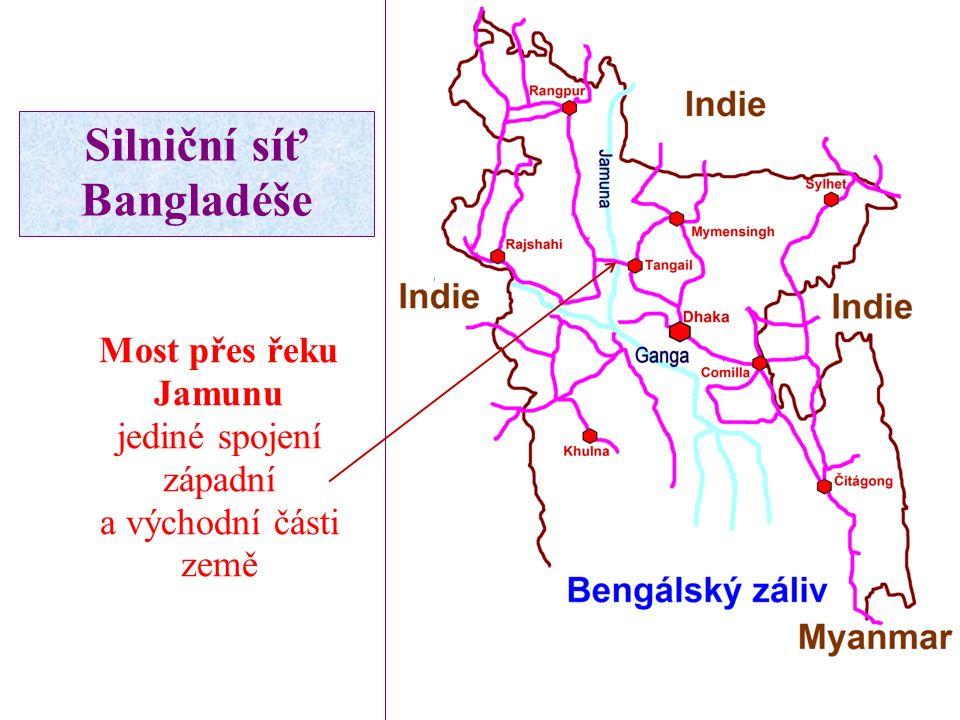 Most přes řeku Jamunu jediné spojení západní a východní části země Silniční síť Bangladéše