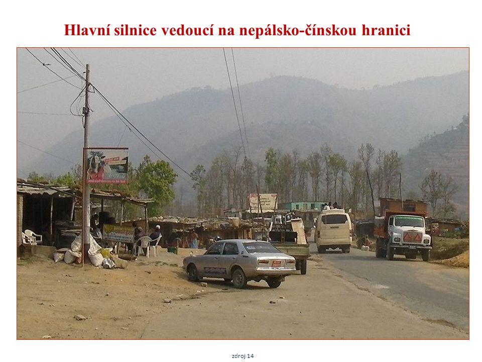 Hlavní silnice vedoucí na nepálsko-čínskou hranici zdroj 14