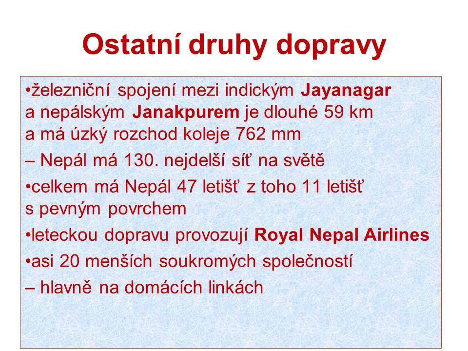 Ostatní druhy dopravy železniční spojení mezi indickým Jayanagar a nepálským Janakpurem je dlouhé 59 km a má úzký rozchod koleje 762 mm – Nepál má 130