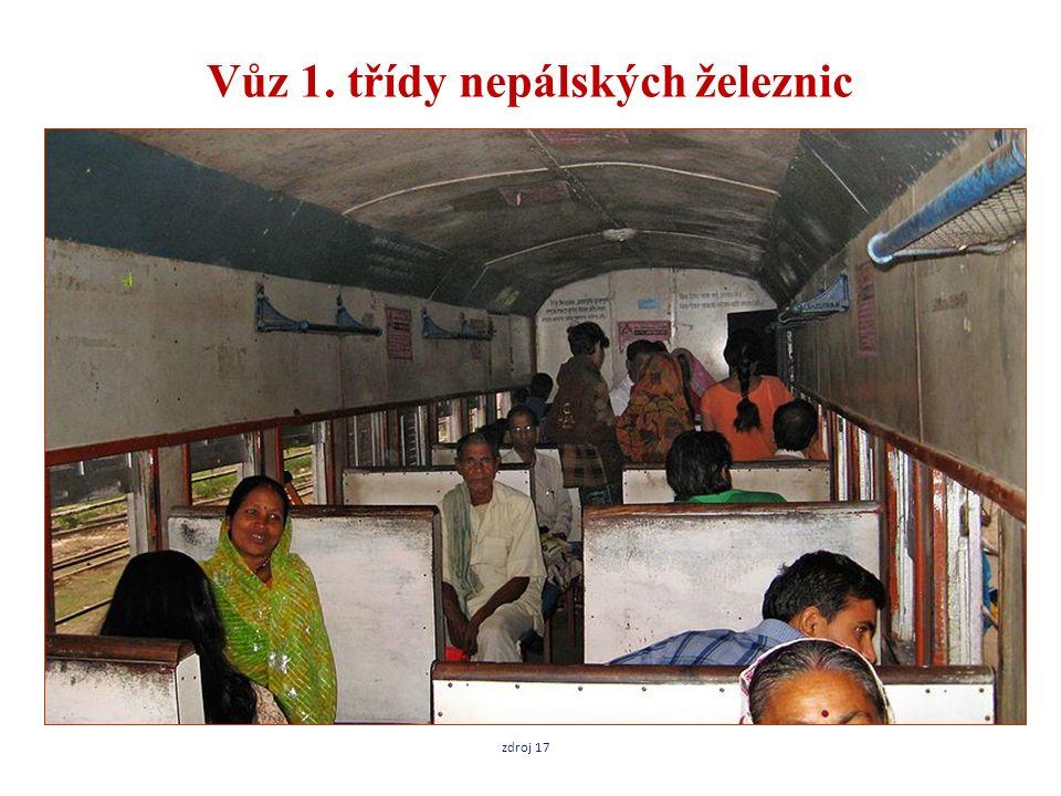 Vůz 1. třídy nepálských železnic zdroj 17