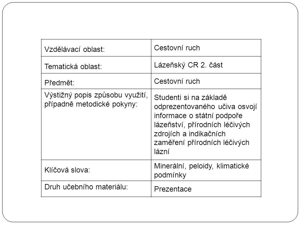 Vzdělávací oblast: Cestovní ruch Tematická oblast: Lázeňský CR 2.