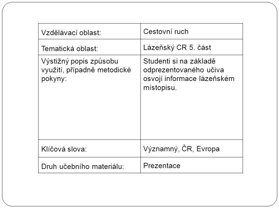 Vzdělávací oblast: Cestovní ruch Tematická oblast: Lázeňský CR 5.