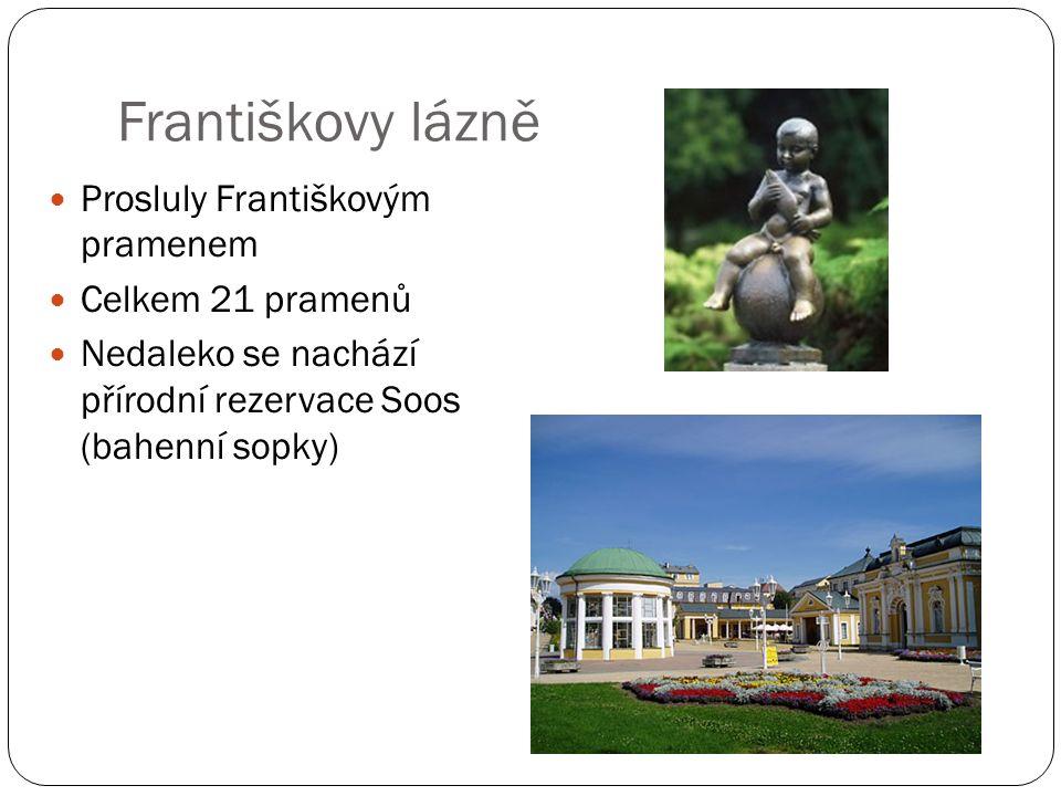 Františkovy lázně Prosluly Františkovým pramenem Celkem 21 pramenů Nedaleko se nachází přírodní rezervace Soos (bahenní sopky)