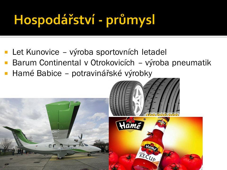  Let Kunovice – výroba sportovních letadel  Barum Continental v Otrokovicích – výroba pneumatik  Hamé Babice – potravinářské výrobky