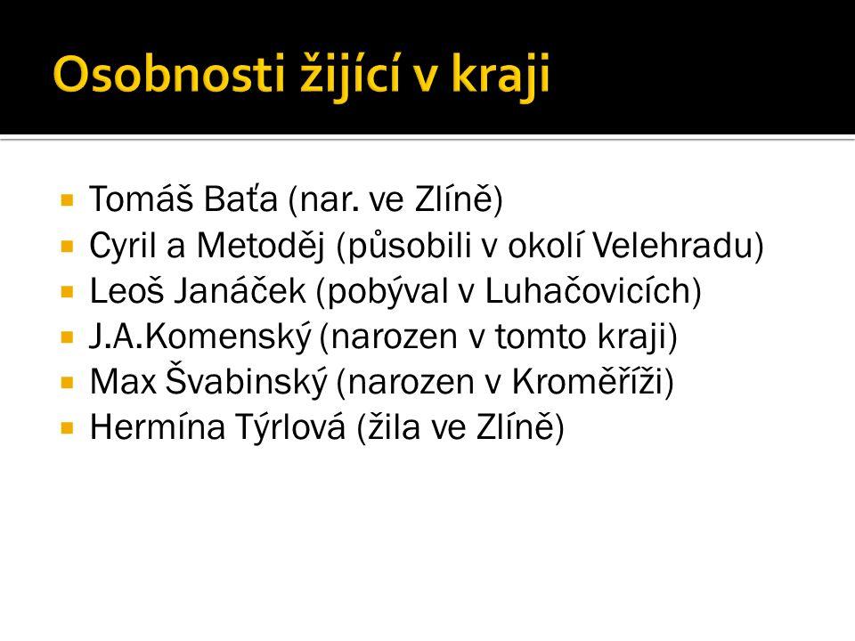  Tomáš Baťa (nar. ve Zlíně)  Cyril a Metoděj (působili v okolí Velehradu)  Leoš Janáček (pobýval v Luhačovicích)  J.A.Komenský (narozen v tomto kr