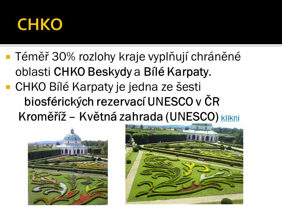  Téměř 30% rozlohy kraje vyplňují chráněné oblasti CHKO Beskydy a Bílé Karpaty.