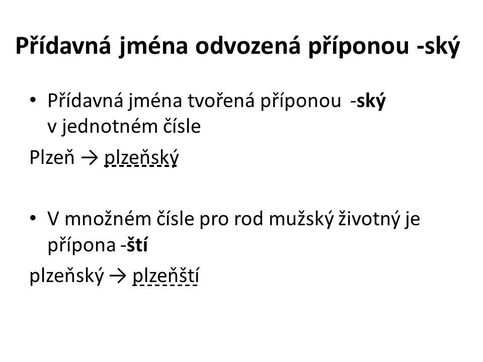Přídavná jména odvozená příponou -ský Přídavná jména tvořená příponou -ský v jednotném čísle Plzeň → plzeňský V množném čísle pro rod mužský životný je přípona -ští plzeňský → plzeňští