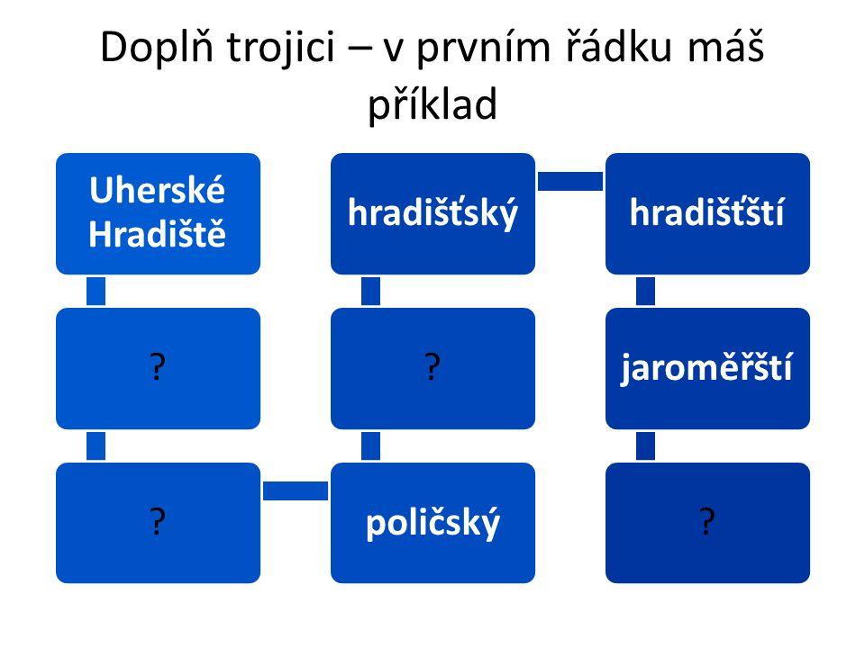 Doplň trojici – v prvním řádku máš příklad Uherské Hradiště ??poličský?hradišťskýhradišťštíjaroměřští?