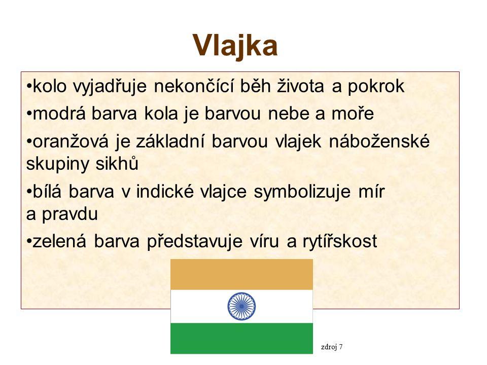 Vlajka kolo vyjadřuje nekončící běh života a pokrok modrá barva kola je barvou nebe a moře oranžová je základní barvou vlajek náboženské skupiny sikhů bílá barva v indické vlajce symbolizuje mír a pravdu zelená barva představuje víru a rytířskost zdroj 7
