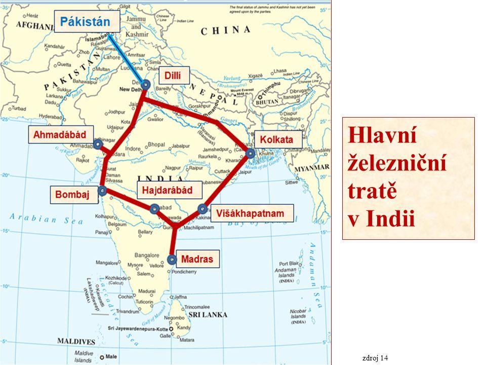 Hlavní železniční tratě v Indii zdroj 14