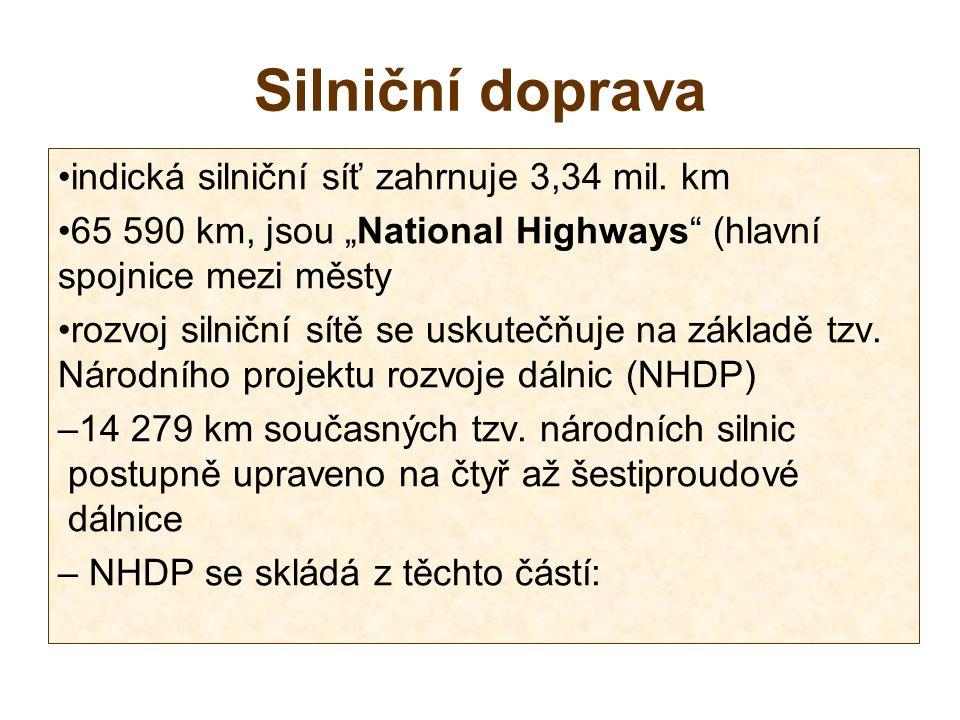 Silniční doprava indická silniční síť zahrnuje 3,34 mil.