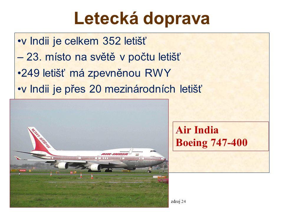 Letecká doprava v Indii je celkem 352 letišť – 23.