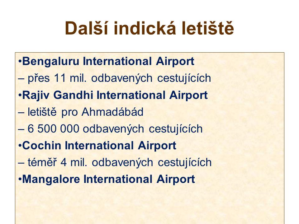 Další indická letiště Bengaluru International Airport – přes 11 mil.