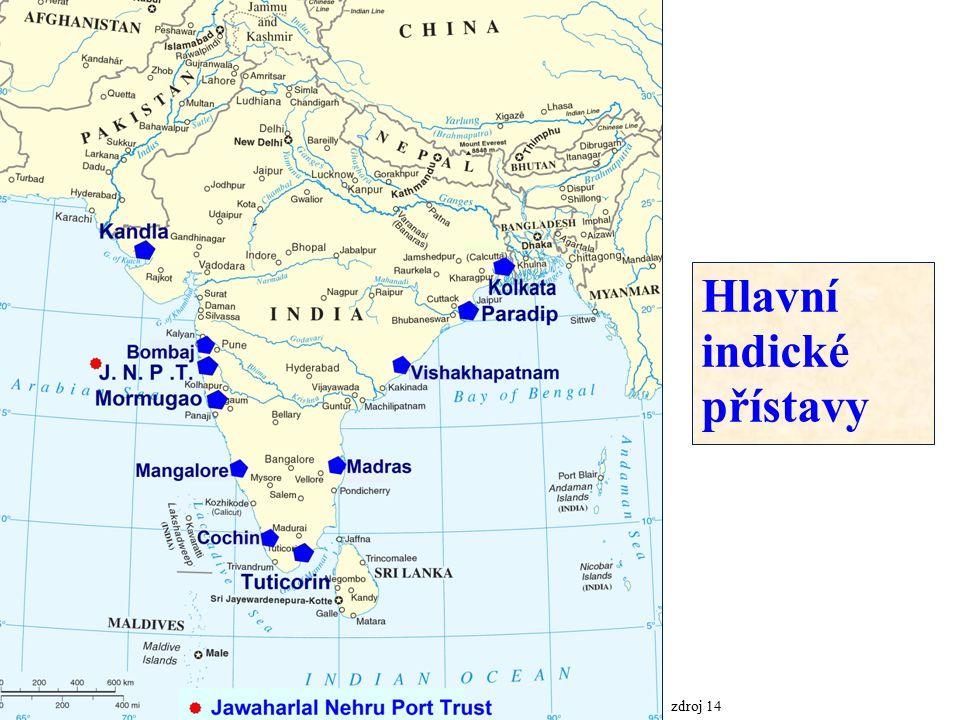 zdroj 14 Hlavní indické přístavy