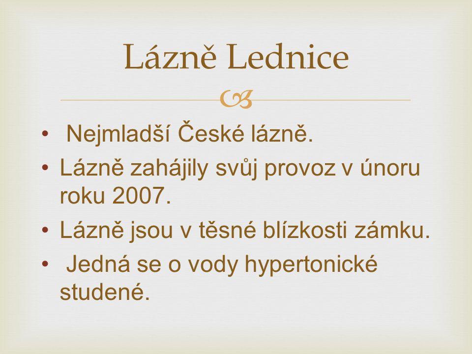  Nejmladší České lázně. Lázně zahájily svůj provoz v únoru roku 2007.