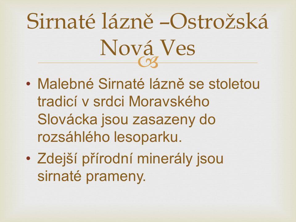  Malebné Sirnaté lázně se stoletou tradicí v srdci Moravského Slovácka jsou zasazeny do rozsáhlého lesoparku.