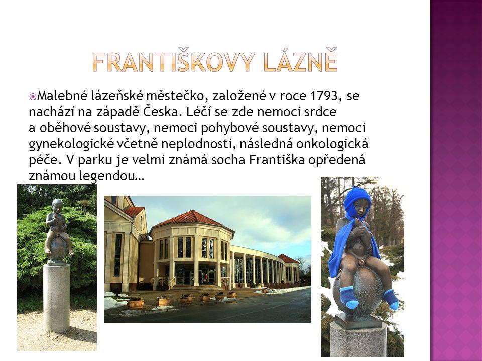  Malebné lázeňské městečko, založené v roce 1793, se nachází na západě Česka. Léčí se zde nemoci srdce a oběhové soustavy, nemoci pohybové soustavy,