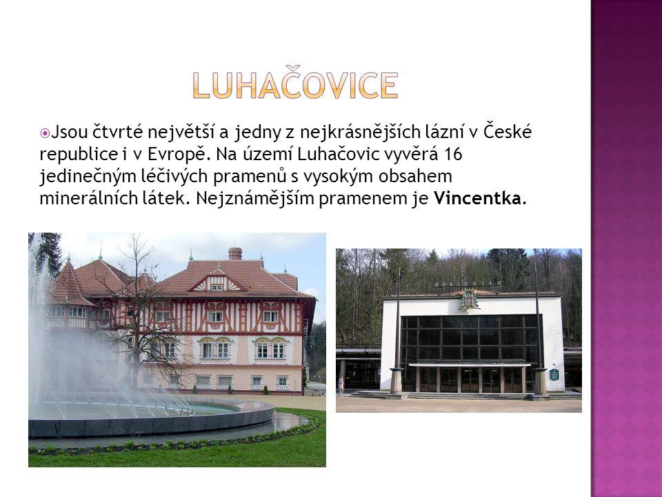  Jsou čtvrté největší a jedny z nejkrásnějších lázní v České republice i v Evropě. Na území Luhačovic vyvěrá 16 jedinečným léčivých pramenů s vysokým