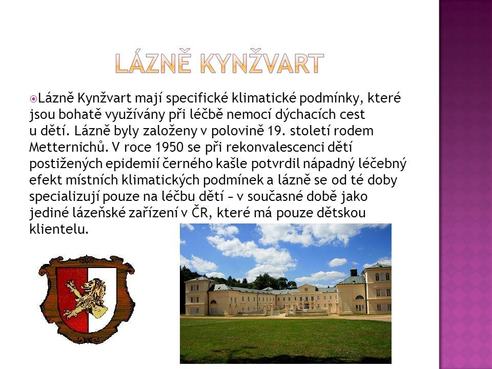  Lázně Kynžvart mají specifické klimatické podmínky, které jsou bohatě využívány při léčbě nemocí dýchacích cest u dětí. Lázně byly založeny v polovi