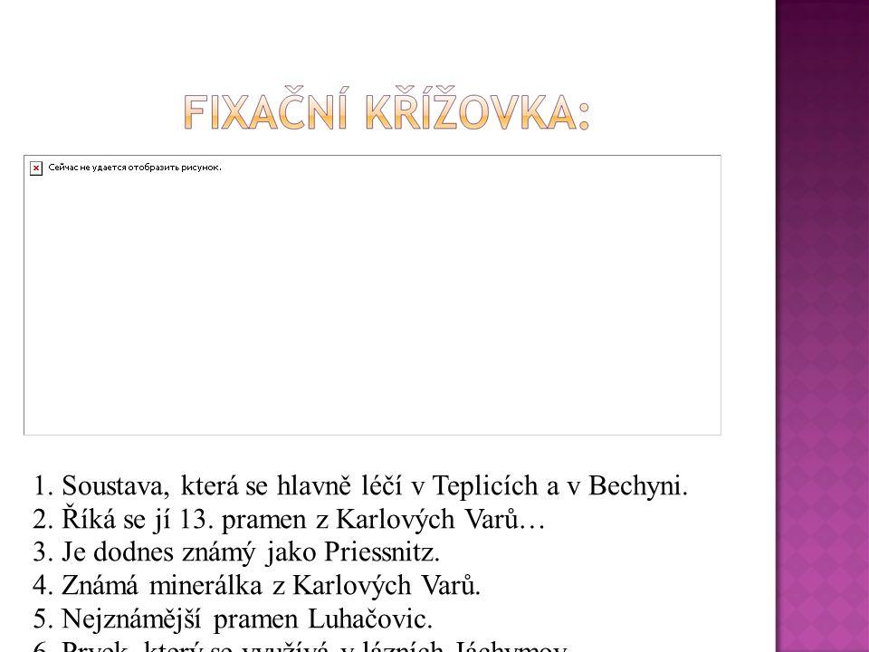 1. Soustava, která se hlavně léčí v Teplicích a v Bechyni. 2. Říká se jí 13. pramen z Karlových Varů… 3. Je dodnes známý jako Priessnitz. 4. Známá min