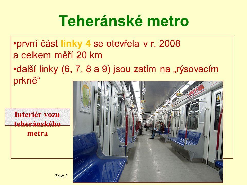 """Teheránské metro první část linky 4 se otevřela v r. 2008 a celkem měří 20 km další linky (6, 7, 8 a 9) jsou zatím na """"rýsovacím prkně"""" Zdroj 8 Interi"""