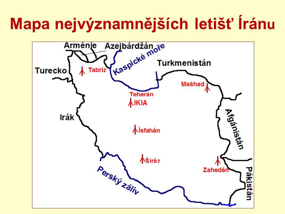 Mapa nejvýznamnějších letišť Írán u
