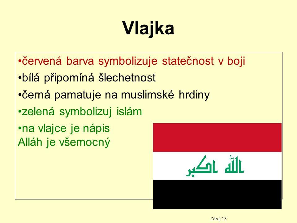 Vlajka červená barva symbolizuje statečnost v boji bílá připomíná šlechetnost černá pamatuje na muslimské hrdiny zelená symbolizuj islám na vlajce je nápis Alláh je všemocný Zdroj 18