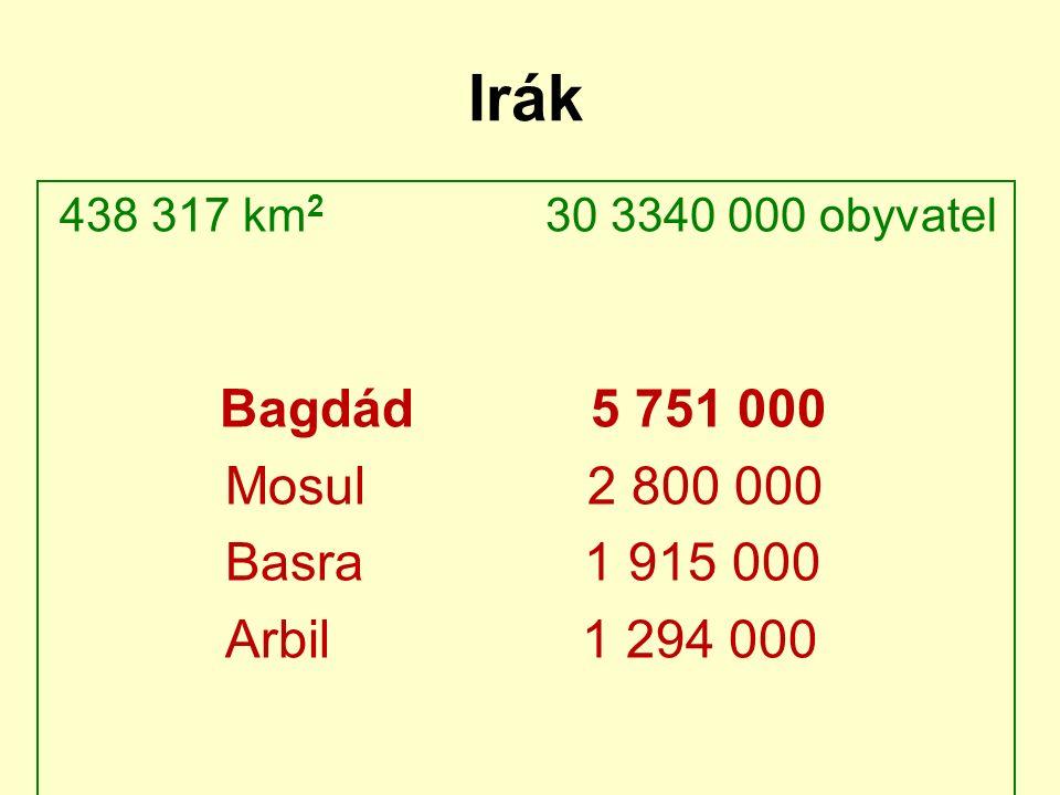 Irák 438 317 km 2 30 3340 000 obyvatel Bagdád 5 751 000 Mosul 2 800 000 Basra 1 915 000 Arbil 1 294 000