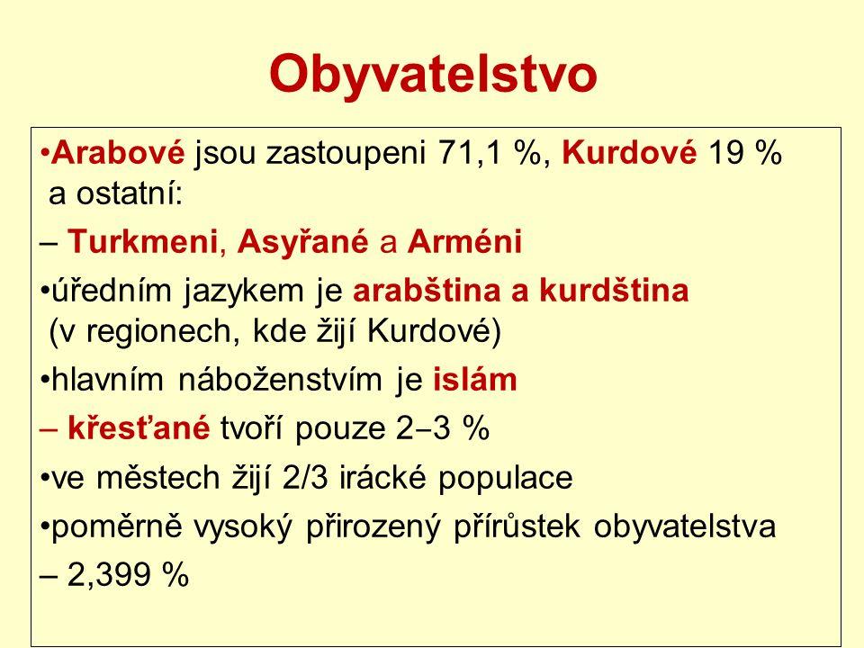 Obyvatelstvo Arabové jsou zastoupeni 71,1 %, Kurdové 19 % a ostatní: – Turkmeni, Asyřané a Arméni úředním jazykem je arabština a kurdština (v regionech, kde žijí Kurdové) hlavním náboženstvím je islám – křesťané tvoří pouze 2 ‒ 3 % ve městech žijí 2/3 irácké populace poměrně vysoký přirozený přírůstek obyvatelstva – 2,399 %