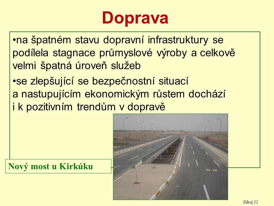 Doprava na špatném stavu dopravní infrastruktury se podílela stagnace průmyslové výroby a celkově velmi špatná úroveň služeb se zlepšující se bezpečnostní situací a nastupujícím ekonomickým růstem dochází i k pozitivním trendům v dopravě Nový most u Kirkúku Zdroj 22