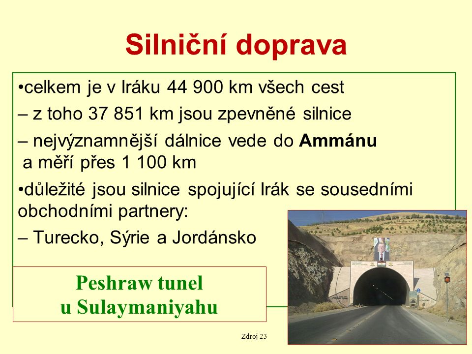 Silniční doprava celkem je v Iráku 44 900 km všech cest – z toho 37 851 km jsou zpevněné silnice – nejvýznamnější dálnice vede do Ammánu a měří přes 1 100 km důležité jsou silnice spojující Irák se sousedními obchodními partnery: – Turecko, Sýrie a Jordánsko Peshraw tunel u Sulaymaniyahu Zdroj 23